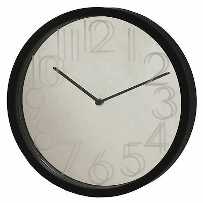Hometime Reflection Mirror Face with Black Surrond 30cm Wall Clock