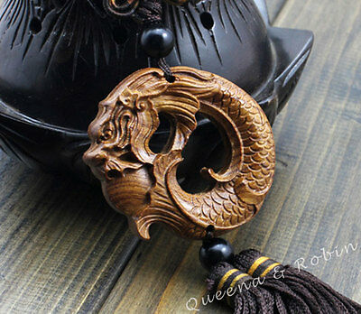 Rose Wood Carved Chinese Dragon Carp Statue Car Pendant Amulet Sculpture Wooden