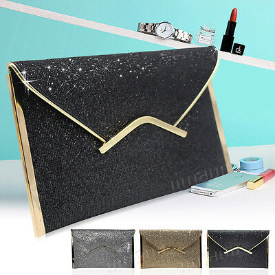 Ladies Sparkly Large Flap Envelope Purse Bridal Wedding Prom Clutch Handbag Bag
