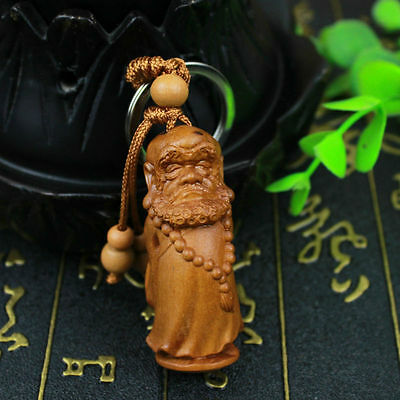 Dharma Patriarch Bodhidharma Statue Chinese Wood 3D Carving Pendant Key Chain