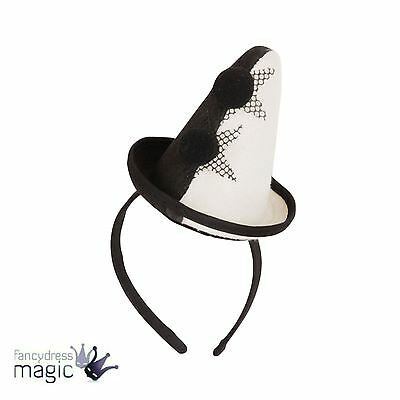 Pierrot Mini Cone Clown Hat Mime Headband Circus Fancy Dress Costume Accessory