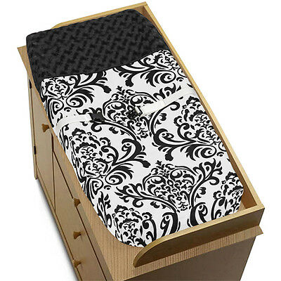 Sweet Jojo Changing Table Pad Cover for Black & White Isabella Baby Bedding Set