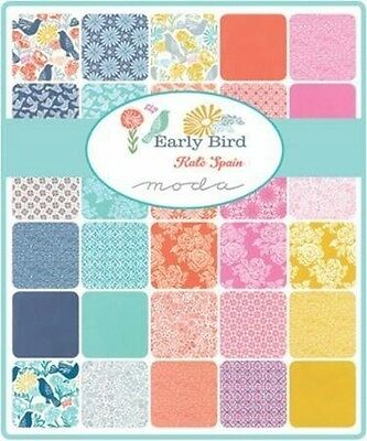"Moda Kate Spain Early Bird 5"" Charm Pack Quilting Fabric"