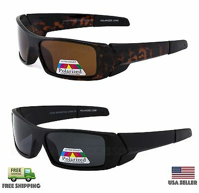 Mens POLARIZED Lens GAS CAN Sunglasses  Wrap Around Fishing Hunting Glasses