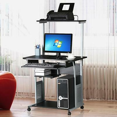 Computer Desk Laptop Table PC Stand Glass Top w/Keyboard Tray Home Office Studio