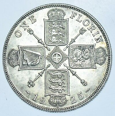 Rare Key Date, 1925 Florin, Slabbed Cgs-65, British Silver Coin From George V