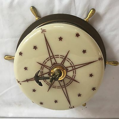 Vtg Maritime Nautical  Ceiling Light Fixture Sail Boat Ships Wheel Beach 47-17J