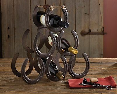 Western Horseshoe Wine Bottle Holder Table Top Rack Decor 5362