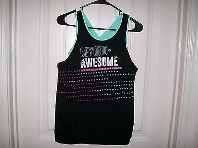 Nwt! So Girls Beyond Awesome Black & Mint Color Tank Top Size 16   Retail $26