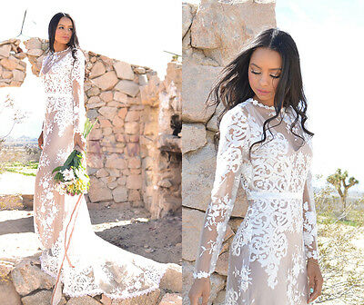 Sheer White Embroidered Lace Long Sleeve Hippie Boho Bohemian WEDDING Maxi Dress