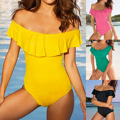 Women's Flounce Off Shoulder Vintage Monokini Swimwear One Piece Bathing Suit