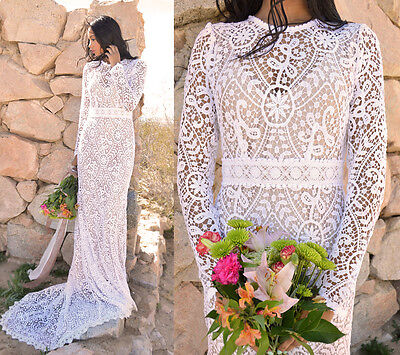 Sheer White Scalloped Crochet Lace Long Sleeve Hippie Boho WEDDING Maxi Dress