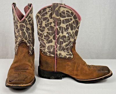 76d29afd8e7 ARIAT GIRLS YOUTH Quickdraw 10004854 Pink Cow Giraffe Leather Cowboy Boots  Sz 3