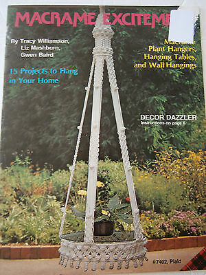 Vtg Macrame Excitement Plant Hangers Wall Hanging Tables Pattern Book 15 Project