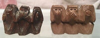 2 Minature Wood Three Wise Monkeys  One Made in Japan  (L13050)