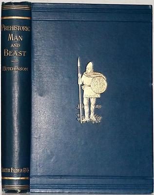 1896 Prehistoric Man And Beast Stone Age Mamoth Antiquity Of Man Sabertooth