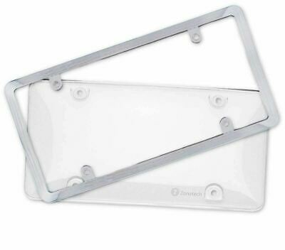 Zone Tech Clear Bubbled License Plate Cover Shield with Chrome Frame Car Truck