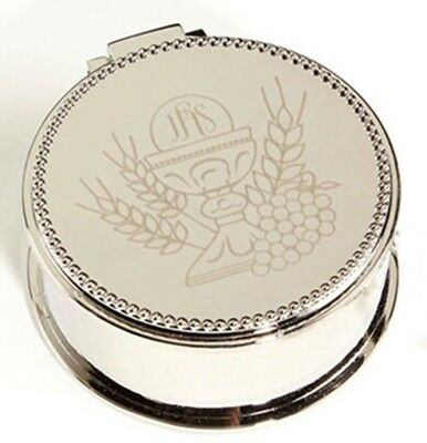 Silver Tone First Communion Rosary Box with Wheat and Grapes Design, 2 1/4 Inch