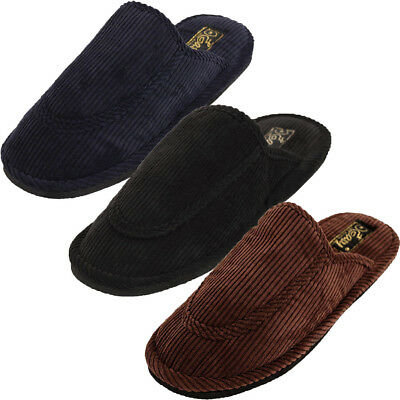 Mens Slippers Open Back House Shoe Corduroy Slip On Comfort Indoor Sizing
