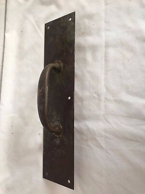 Large Antique Brass Industrial Door Pull Handle Old Vtg Bank Hardware 53-17J