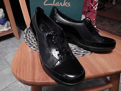 Womans Clark Honest Black Patent Stle 80434 Size 8m