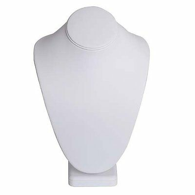 Graceful Necklace Bust Jewelry Display White Leatherette