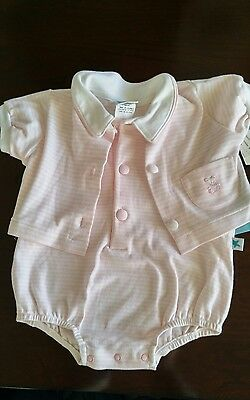 NEW Vintage 2 Pc  Little Me Infant Baby Girl Coverall Shortall Outfit~6 M