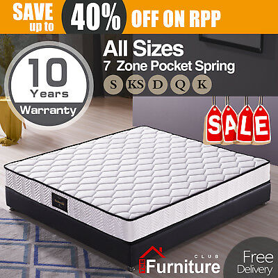 Stylish 20cm thick King Single Double Queen Pocket Spring Foam Mattress 7zone