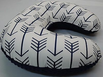 Nursing Pillow  Cover, Boppy Cover, Navy/White Arrow Print, Navy minky backside