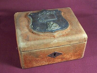 Antique Velvet / Silk Boudoir Sewing Jewelry Box Crest Flowers