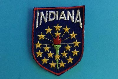 Rare 1970's Vintage Indiana Hat Jacket Travel Patch Crest B