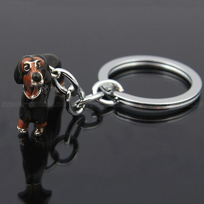 Creative Cute Dachshund Dog Key Chain Ring Enamel Keyring Keyfob Keychain Gifts