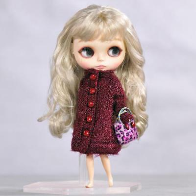 Handmade Doll Wine Red Coat + Handbag Outfit for 12'' Doll Clothing Dress Up