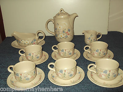 "Poole Pottery England ""Springtime"" cups saucers gravy jug coffee pot"