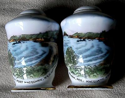 vintage ROYAL STAFFORD souvenir salt pepper shakers FLYNN,S BEACH PORT MACQUARIE