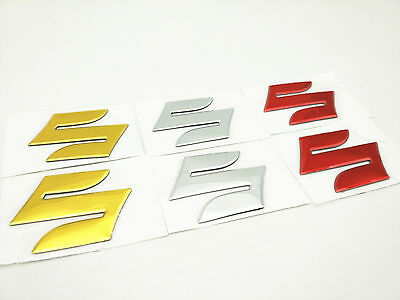 "3 Colors Motorcycle Emblem Badge Decal 3D Tank Wheel Logo ""S"" Sticker For Suzuki"