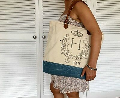 Casual Vintage Jeans Recycled Canvas Leather Tote Shopper Handbag