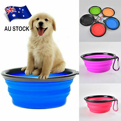 1× Portable Collapsible Silicone Feeding Water Dish Feeder Pet Dog Bowl AU STOCK