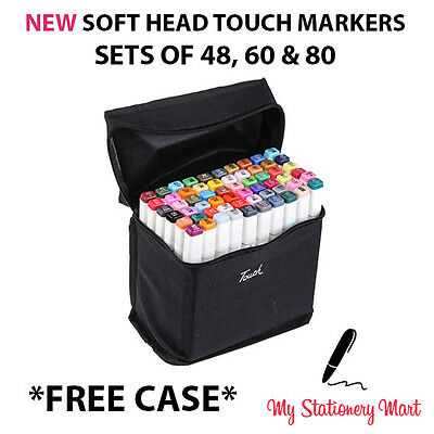 Twin Tip TOUCH MARKER 48 60 80 Colours Graphic Sketch Fine Markers
