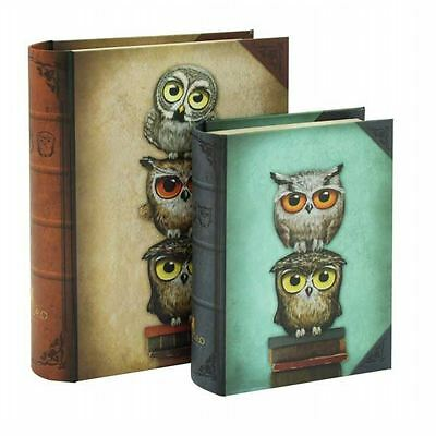 Santoro Book Owls Set of Two Book Boxes Brown and Blue