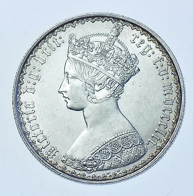 1852 Gothic Florin, British Silver Coin From Victoria Au
