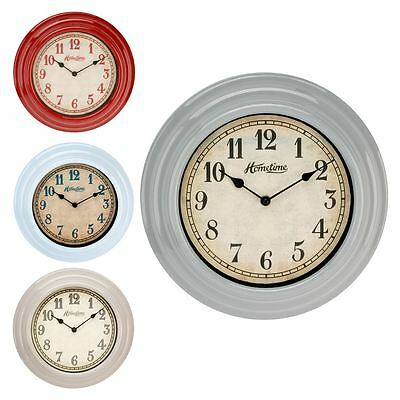Hometime Vintage Chic Gloss Plastic 30cm Wall Clock Kitchen Conservatory Retro