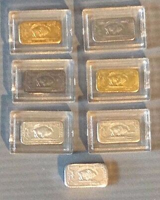 7x 1 Gram Pure Solid Periodic Table of Elements Buffalo Bullion Bars + Capsules