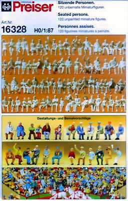 Figurines Ho 1/87 Preiser 16328 - Figurines Assises A Peindre