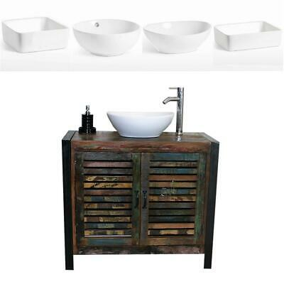 Reclaimed Wood Bathroom Vanity Unit 2 Door with White Ceramic Basin Choice A