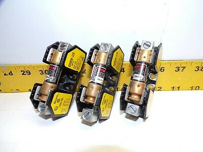 3) Buss R25030-1Cr Fuse Holder 30 Amp 250V  1 Pole With Fuses Lot Of 3