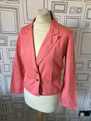 VINTAGE 80's NEW WAVE PINK CROP BLAZER JACKET UK 12 MEDIUM