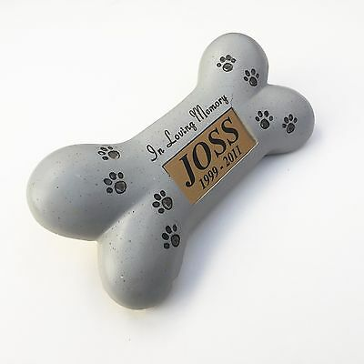 Memorial Dog Bone, Paw Print Ornament & Personalised Gold Plaque, Have Any Text