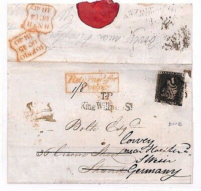 BO1 1840 GB PENNY BLACK COVER Forwarded GERMANY *Returned for 1s/8d Postage*RARE