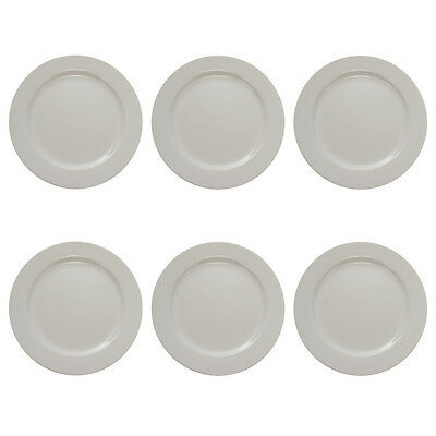 "6 Oneida Tundra 10.6"" Round Dinner Plates Set Lot Vitrified China Wide Rim Bulk"